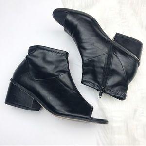 ASOS Vegan Leather Open Toe Heeled Booties.